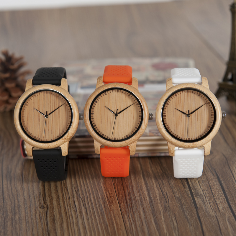 BOBO BIRD Bamboo Watches Men With Silicone Straps Quartz Movement Wrist Watch In Gifts Box  Erkek Kol Saati
