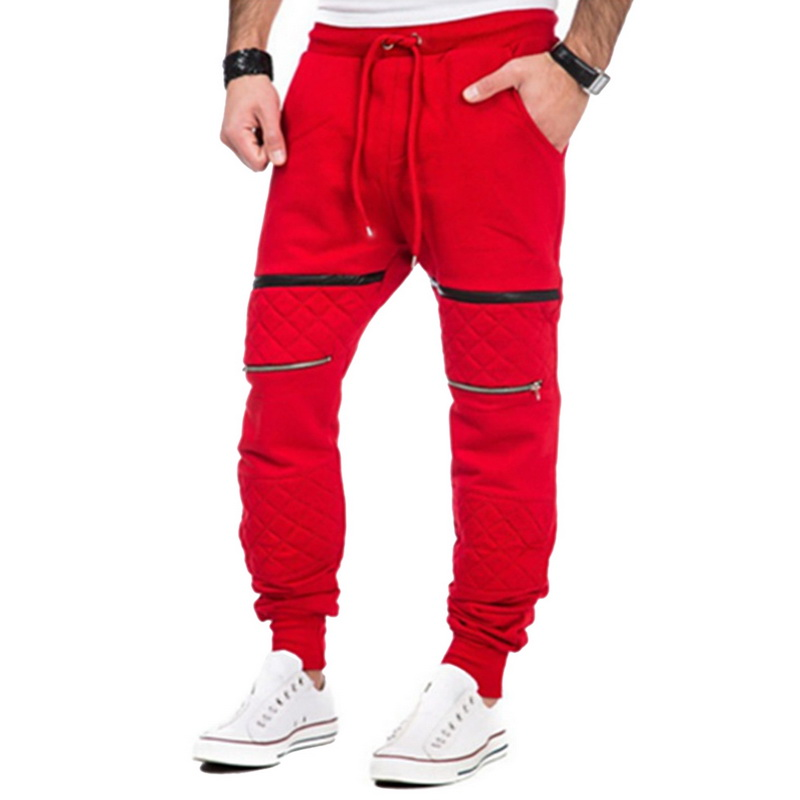 CALOFE Men Running Pants Zipper Solid Color Male Pants Drawstring Joggers Narrow Mouth Fit Men Trousers Hot Sale High Quality ...