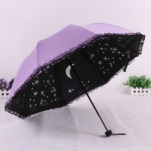 korean stylish black lace parasol creative folding. Black Bedroom Furniture Sets. Home Design Ideas