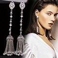 Elegantes Pendientes Largos Para La Fiesta de Boda de Calidad Superior Clear Cubic Zirconia Cristal Pendientes Borla de La Vendimia Pendientes Mujer WE078