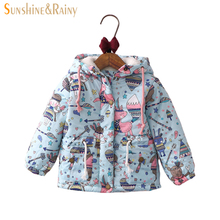 baby girl winter jacket Girls Graffiti Parkas Hooded Jackets Toddler Girl Warm Outerwear Coats Cartoon Fox Owl Children's Jacket