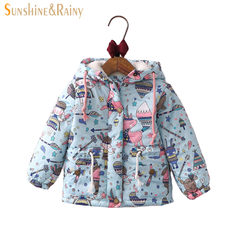 baby girl winter jacket Girls Graffiti Parkas Hooded Jackets Toddler Girl Warm Outerwear Coats Cartoon Fox Owl Childrens Jacket