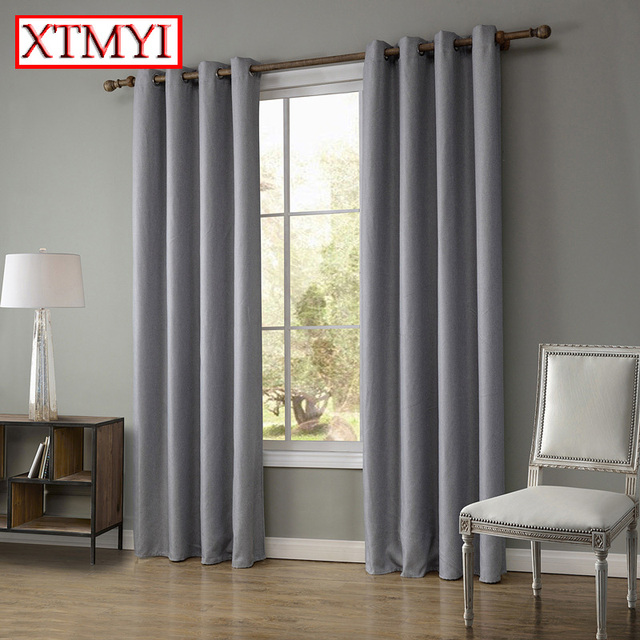 Modern linen blackout curtains for bedroom brown/beige Window ...