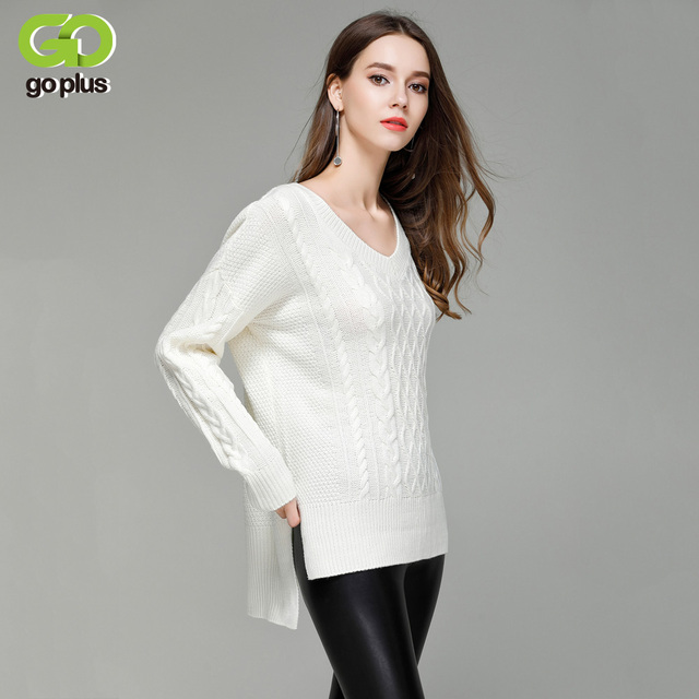 Goplus V Neck Cable Knit Sweaters Step Cut Hem Women Pullovers