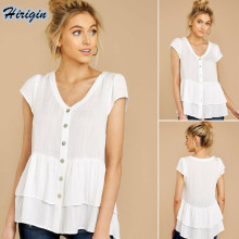 Summer Casual Women Tops 2019 New White Short Sleeve V-neck Button Cotton Loose