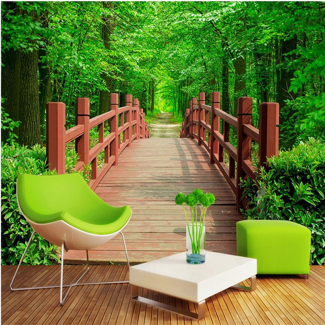 Modern Painting For Living Room Background Photography HD Forest Trees  Wooden Nature Art Hotel Badroom Wall