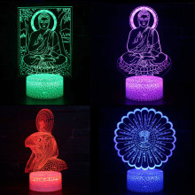 3D Visual Night Light Sakyamuni God 7 Color Change USB Hologram Atmosphere Novelty Lamp for Home Decoration Illusion Gift