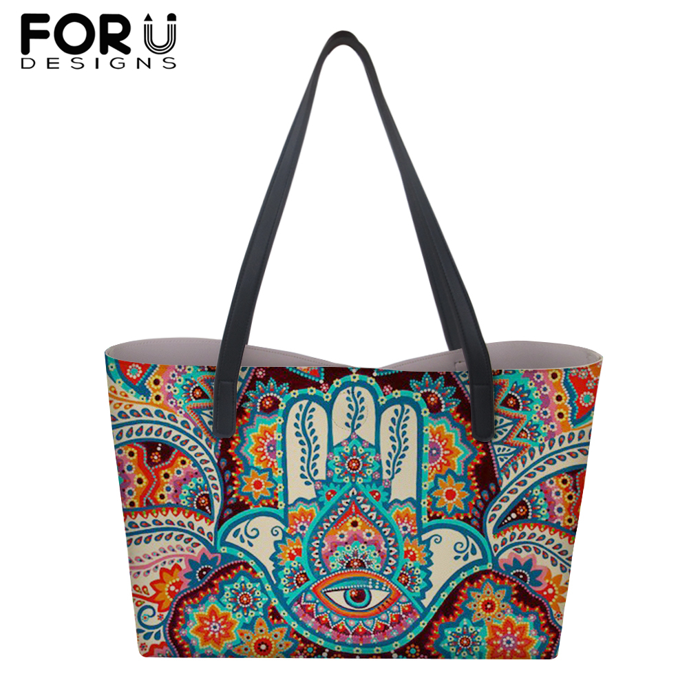 FORUDESIGNS Ethnic Style Large PU Leather Handbags for Women Girl Fatima Hamsa Hand Print Shoulder Bag Travel Shopping Totes in Top Handle Bags from Luggage Bags