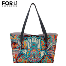 FORUDESIGNS Ethnic Style Large PU Leather Handbags for Women Girl Fatima Hamsa Hand Print Shoulder Bag Travel Shopping Totes