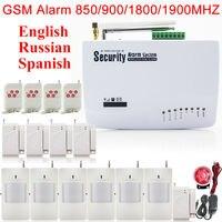 GSM01 רוסית קול במדריך 5 יחידות דלת חיישן 6 X Wireless PIR גלאי אזעקה האלחוטית אבטחת בית GSM אנטנה כפולה מערכת