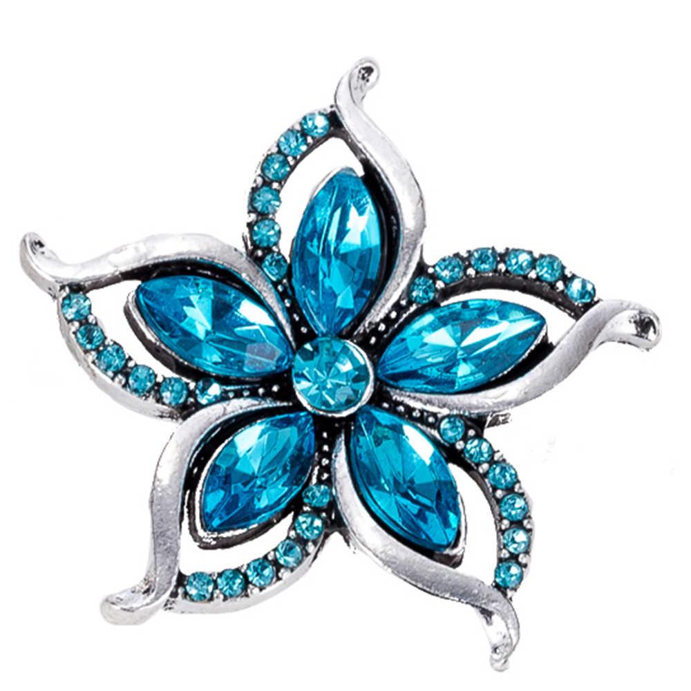 Кнопки 18 мм Металлические Кнопки для защелки браслетов подходят к украшение в форме имбирного печенья с украшением в виде кристаллов заколка-цветок TZ9025