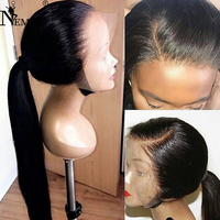 NEMER 13X6 Lace Front Human Hair Wigs Black Women Brazilian Remy Hair with Baby Hair 150% Density Lace Wigs Natural Hairline