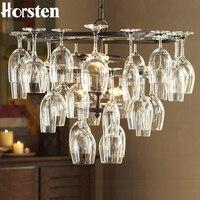 Horsten Art Deco Goblet Hanglamp Lamp Retro Rode Wijn Goblet Hanger lichten Opknoping Lamp Voor Hotel Bar Restaurant Glas Lamp