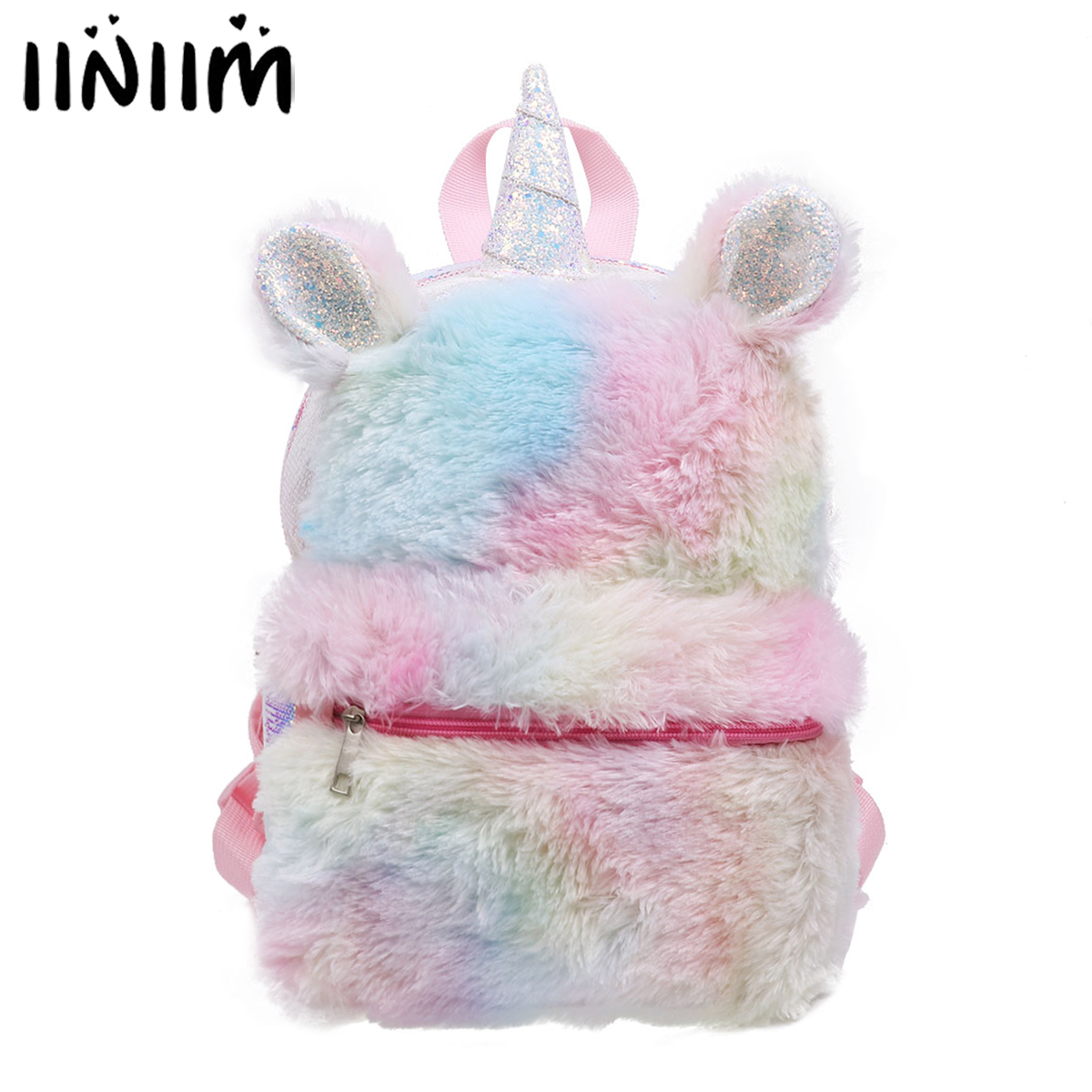Kids Gilrs Dazzling Glittery Sequins Plush Cartoon Animal Horn & Ears Daypack Shoulder Travel Bag for Ballet Dance Backpack
