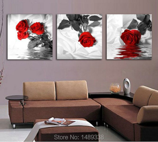 3 Piece Red Rose Home Decorative Canvas Painting Living Room Paint Wall Hanging Art Picture
