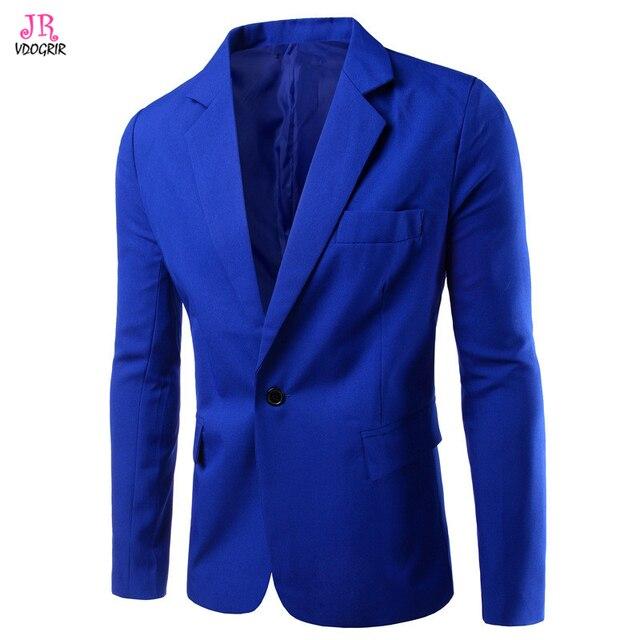 VDOGRIR Hommes de Mode Blazer Bleu Marine Costume Vestes Un Bouton Manches  Longues Entaillé Col Européenne 21013392144
