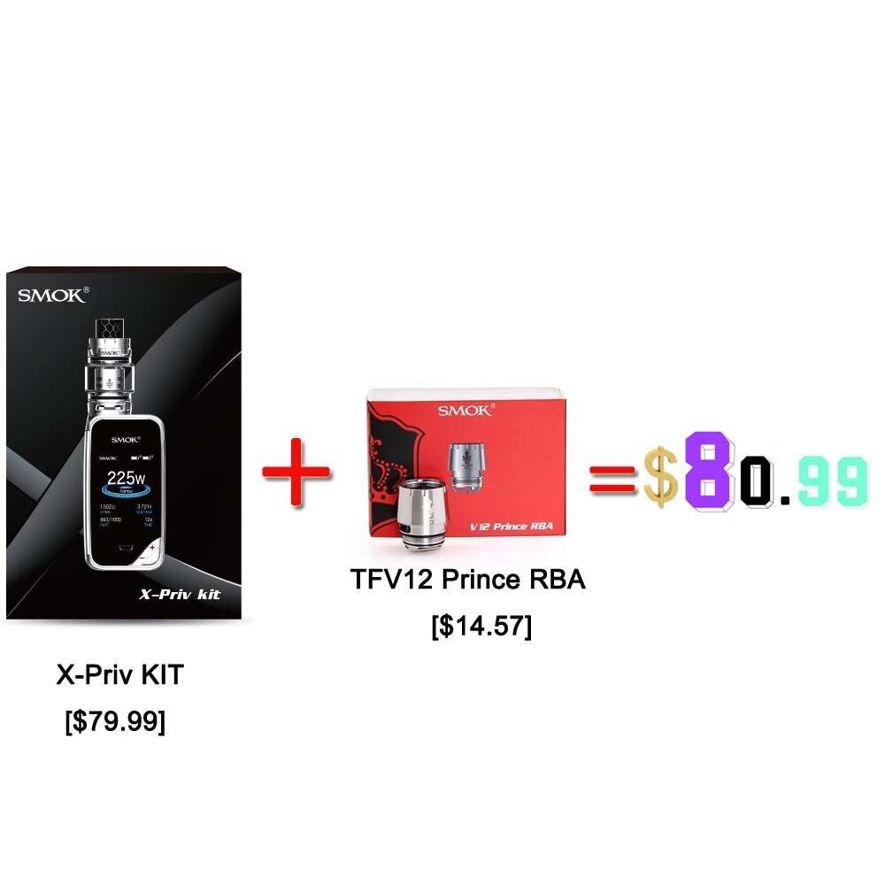 100%Original SMOK X-PRIV Kit with 225W X PRIV Mod 8ml TFV12 Prince Tank Vaporizer Electronic Cigarette VAPE Kit VS SMOK G Priv 2