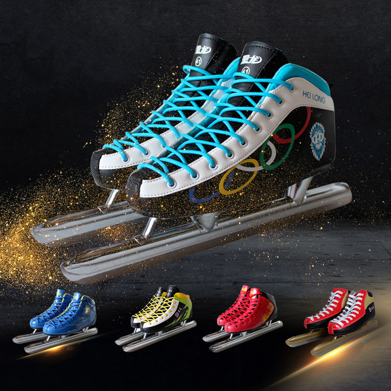 1 Pair Winter Adult Teenagers PU Professional Thermal Warm Ice Speed Skating Shoes With Ice Blade