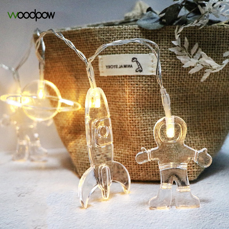 Woodpow 1M 3M LED String Light Battery Powered Astronaut Rocket Planet Light String Night Lights For Kids Party Birthday Gift