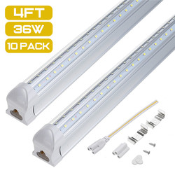 10 Uds 4FT tubo LED T8 lámpara de luz 36W 100LM/W tubo de pared integrado 120CM 300mm T8 luces Led SMD 2835 iluminación blanco frío 85-265V