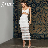 INDRESSME 2019 New Women Strap Sexy Sleeveless Lace Bandage Set Suit Top & Tassels Skirt Bodycon Fashion Party Club Dress Hot