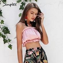 Simplee Ruffle strap sexy camis women Boho beach satin crop top female Black casual summer camisole tops tees 2018