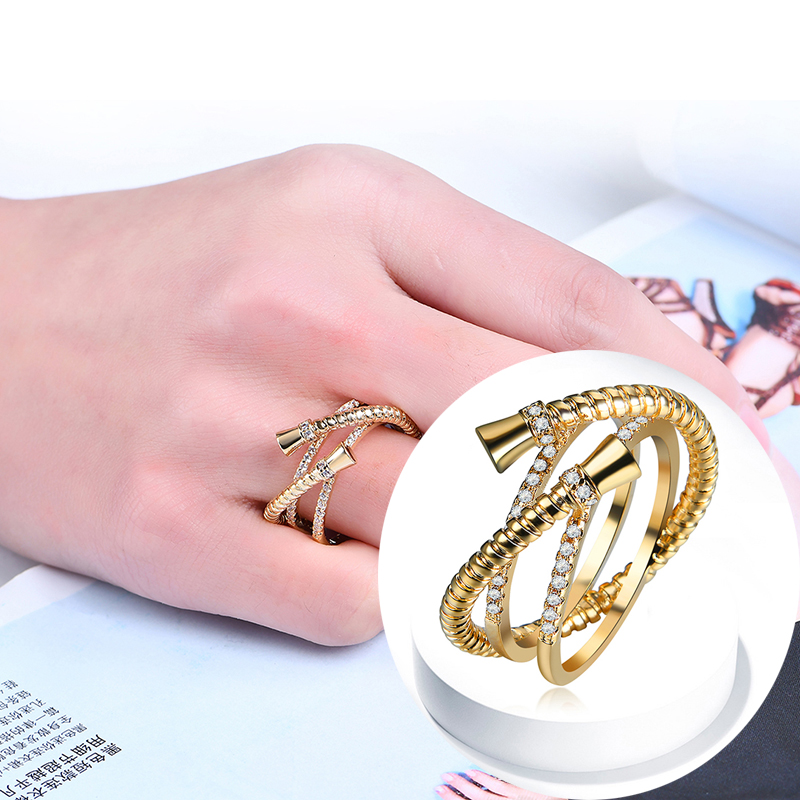 SHUANGR fashion Gold color cross shape AAA CZ Crystal Vintage Micro Paved Engagement wedding Female Finger Rings Size 6-9