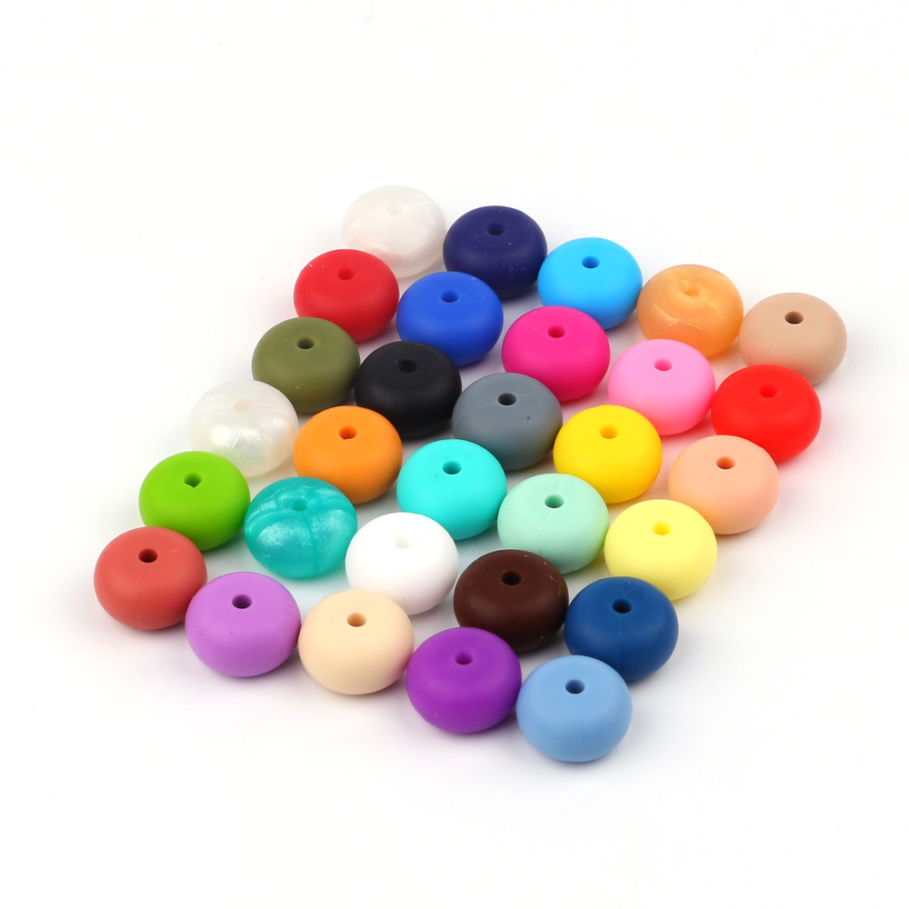 TYRY.HU 10pc/lot Silicone Beads Round Abacus 14mm Baby Teething Teether Beads Food Grade Silicone Teething Toys Accessories стоимость