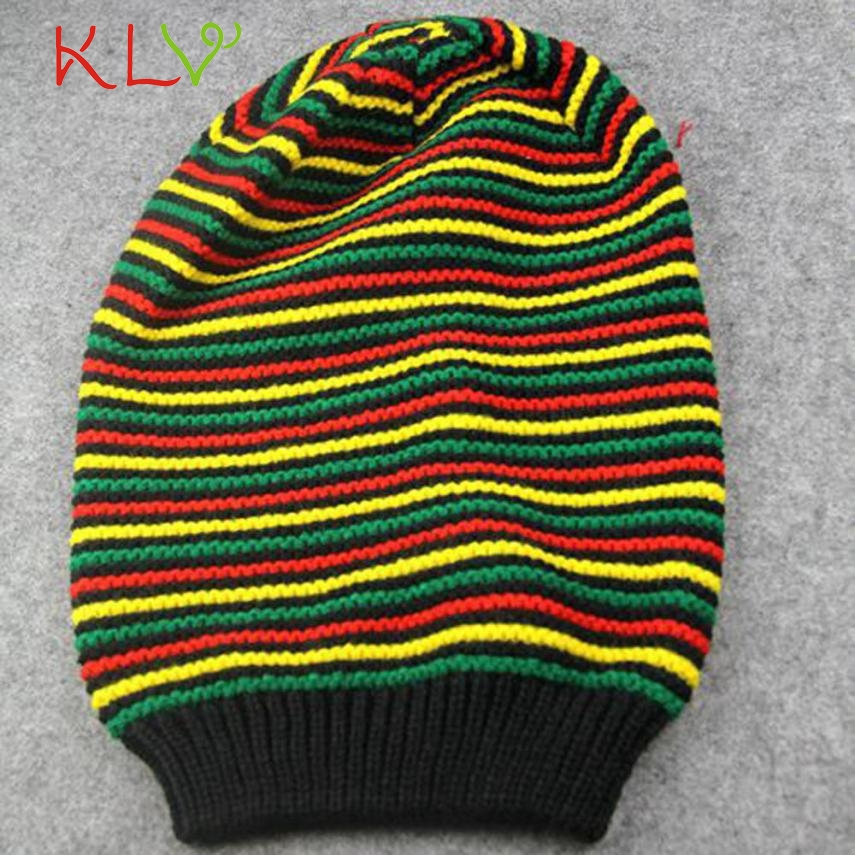 Skullies & Beanies Men Women Rainbow Striped Hooded Cap Winter Warm Cap Knitted Hat Levert Dropship 302 Hot Dropship women cap skullies