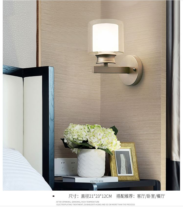 HTB18.D0DXOWBuNjy0Fiq6xFxVXay - Bedroom bedside wall lamp modern minimalist living room study LED TV wall lamp glass lampshade aisle lamp atmosphere