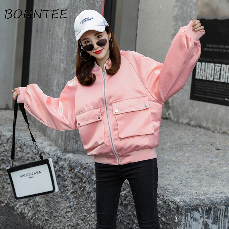 Women   Jackets   New Letter Printed Loose All-match Hip-hop   Basic     Jackets   Womens Pockets Zipper Korean Style BF Outwear Casual Chic