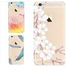 Soft Transparent Tpu Cases Cover For iPhone 6 6s 6Plus 6s Plus 7 7Plus Flower Feather Winter Sweet Pattern Soft Back Cover