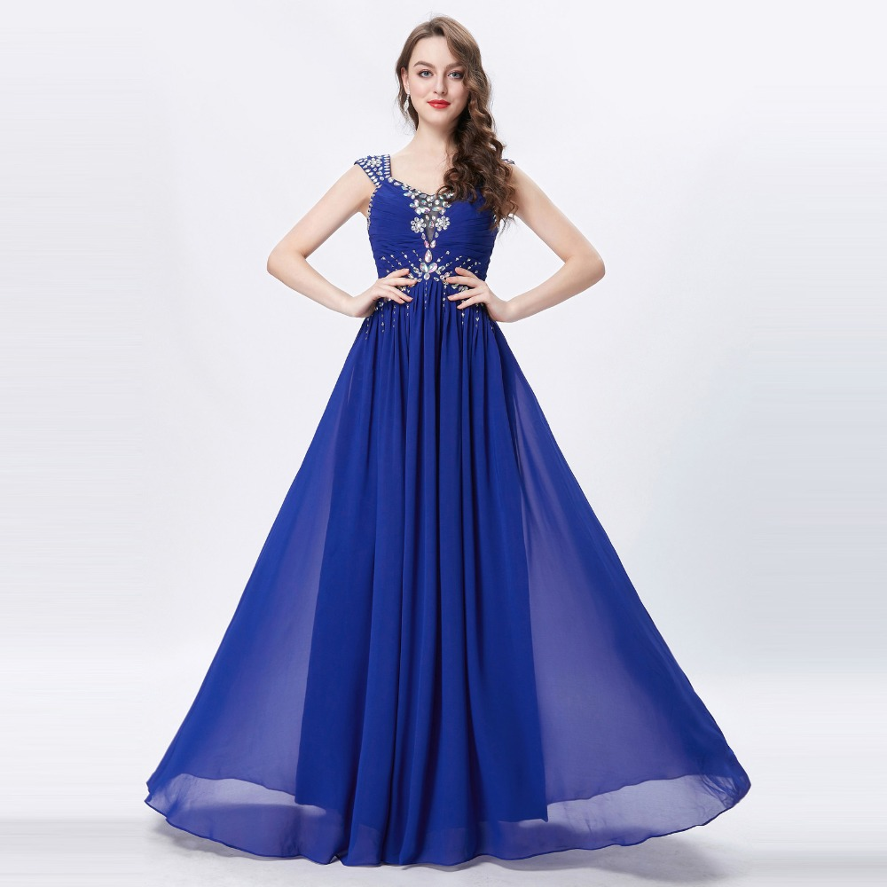 Grace Karin Womens Evening Dresses 2017 Chiffon Elegant Royal Blue Formal Dresses Evening Wear Beaded Long Wedding Party Gowns 7