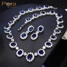 Pera CZ Большой Круглый Кубический Цирконий Люкс Люкс Свадебное Королевский Синий Камень Ожерелье И Серьги Ювелирные Наборы Для Невест J126