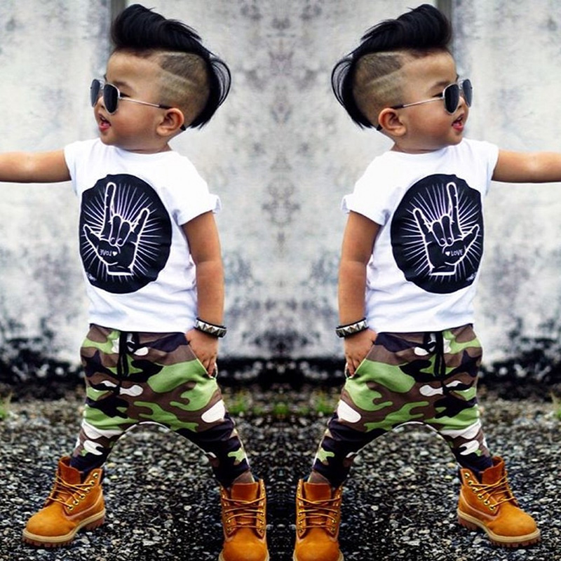 Stylish Infant Toddler Baby Kids Boys Outfits Babies Boy Rock Gesture Tops T-shirt +Camouflage Pants Outfit Set Clothes BCS187