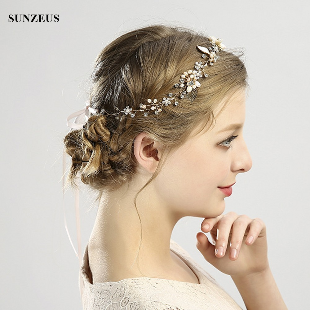 New Hand-made Bridal Hair Sash With Leaves Pearls Headband Head Belt Wedding Hair Accessory For Brides SQ0166