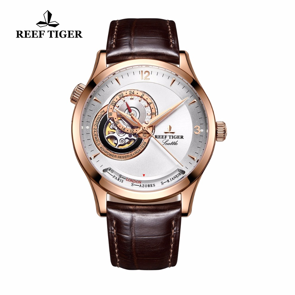2017 Reef Tiger/RT Luxury Casual Watches for Men Rose Gold Automatic Watches Designer Watch RGA1693