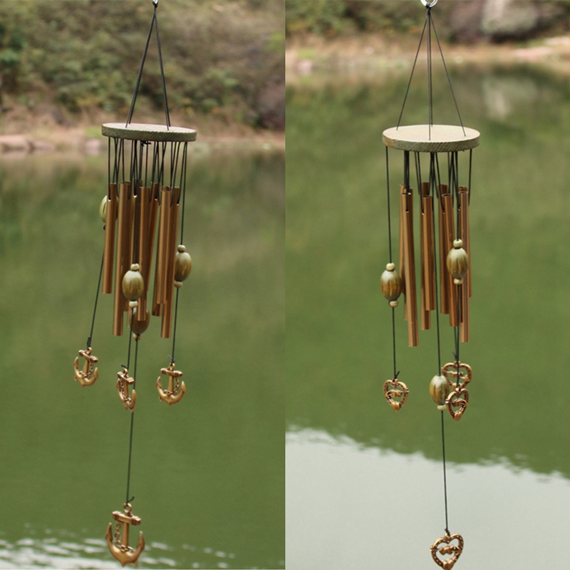 9 Tubes Garden Decorations Birthday Valentines Day Copper Wind Chimes Love Heart Outdoor Living Yard Gift 60 Cm Antirust in Wind Chimes Hanging Decorations from Home Garden