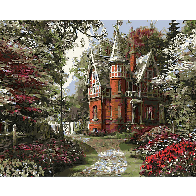 Landscape paintings picture by numbers on canvas home decor wall art acrylic paint coloring by number castle in forest 8037
