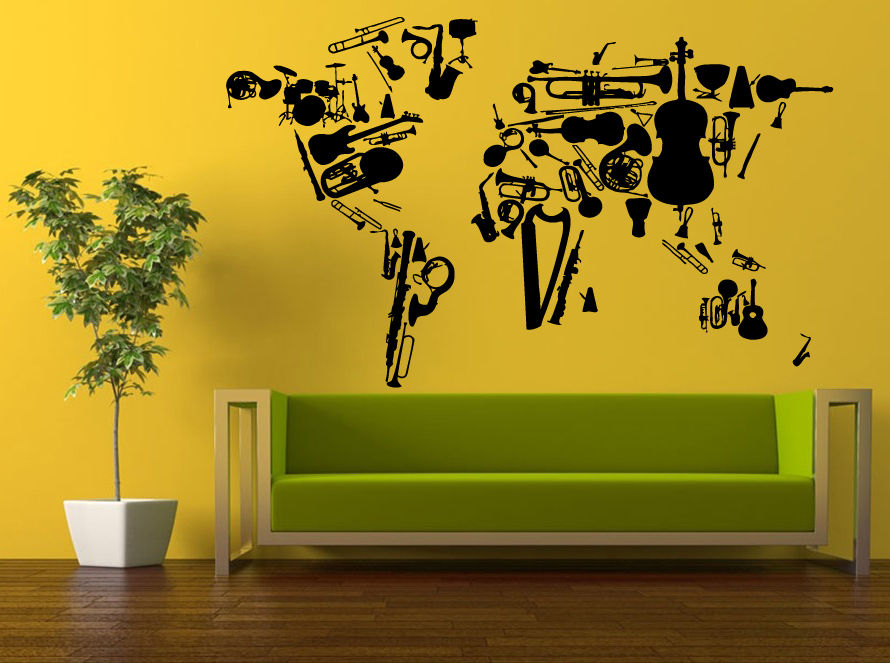 Music Vinyl Wall Decal Music Instrument Violin Piano Guitar World ...