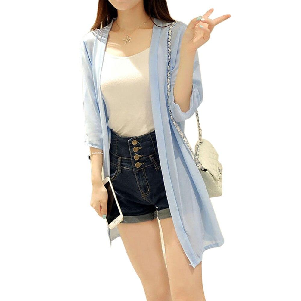 Long Chiffon Blouses Summer Women 2017 Fluorescent Sheer Shirt ...
