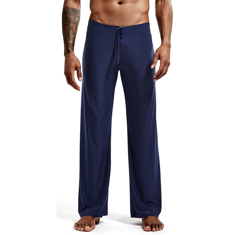 Men's Silky Sleep Bottoms with Drawstring Pajamas Lounge Pants Sleepwear Comfortable Male Summer Cool Home Pants Yoga Wear