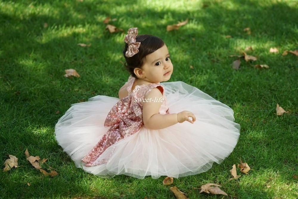 2019 g   Flower     Girls     Dresses   Toddler Baby First Communication   Dresses   With Gold Sequins Tiered Tea Length Par