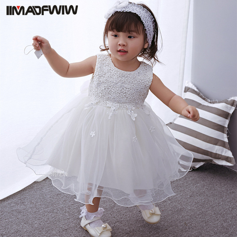2017 New Korean Girls Baby Dress Newborn Baby Birthday Party Clothing Infant Princess Solid Dress + Headband Color White 2018 baby infant newborn girl winter princess dress headband outwear 3pcs set new born 1 2 year birthday party tutu dress