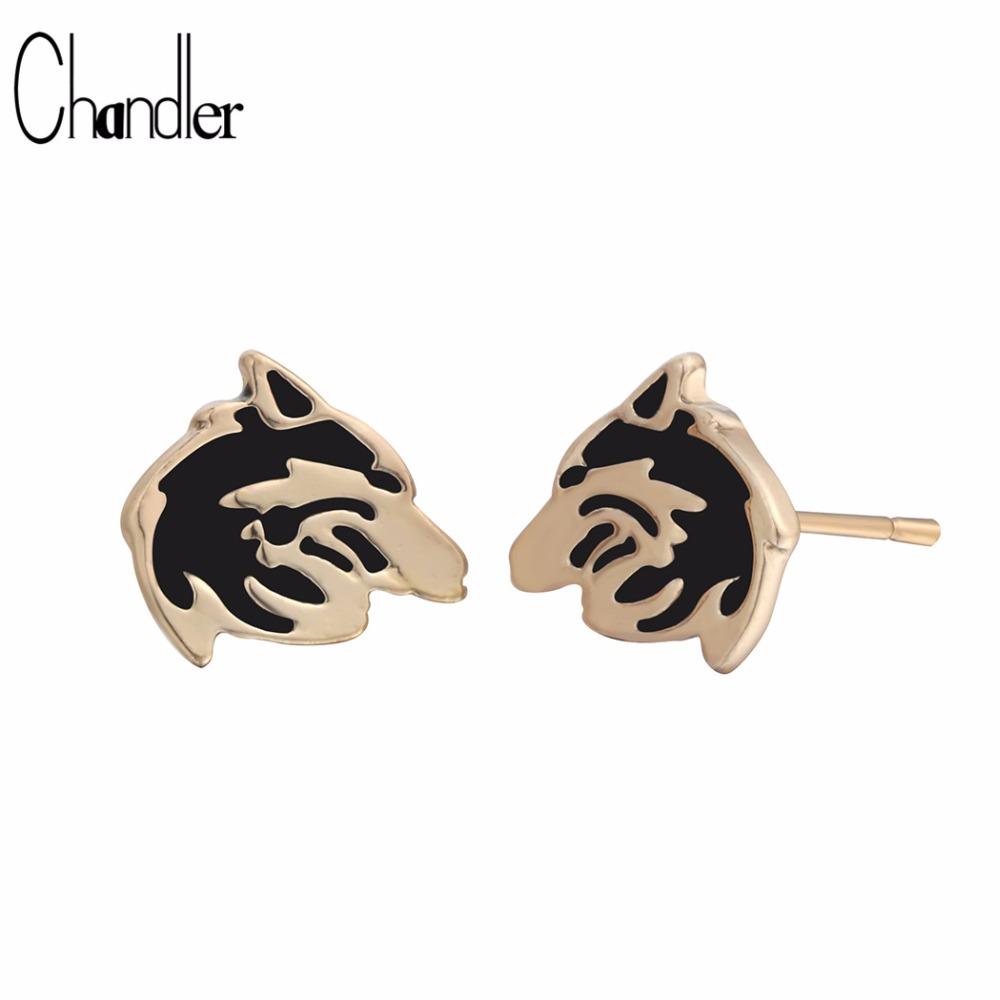 Chandler New Vintage Enthic Jewelry Gold Color Silver Plated Wolf Stud Earring For Men Slavic Viking Alloy Zinc Religious Luxury
