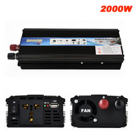 2000W Car Power Inverter DC 12V / 24V To AC 220V Car Charger Converter 12 / 24 Volts To 220 Volts