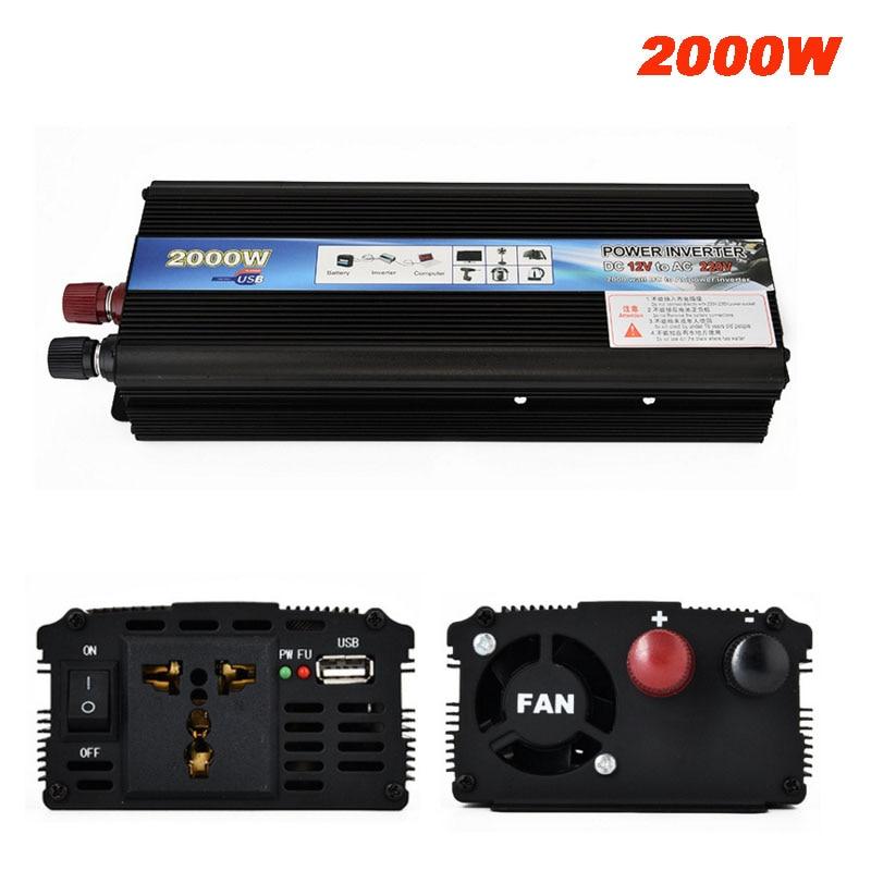 2000 W inversor de corriente del coche DC 12 V/24 V a CA 220 V convertidor del cargador del coche 12/ 24 voltios a 220 voltios