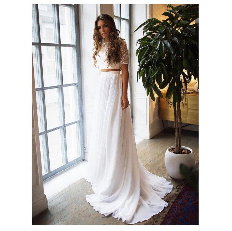 Short Sleeves Wedding Dress 2019 2 Pieces Chiffon Sexy Beach Bridal Dress Cheap High Quality Wedding Gowns