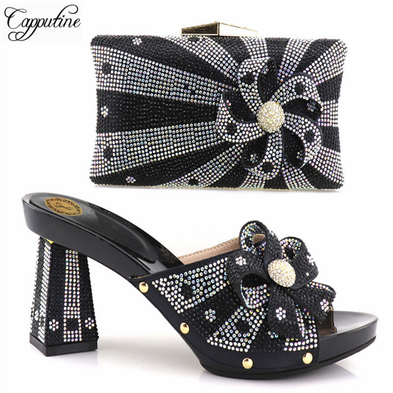 цены Capputine 2018 Fashion Italian Shoes With Matching Bags For Party High Quality Woman Shoes And Bags Set For Party Wedding