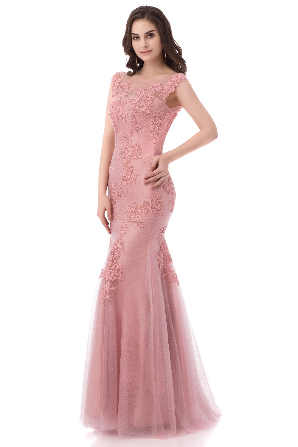 Aliexpress.com : Buy Mermaid Pink Lace Evening Dresses Long 2017 ...